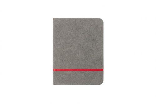 Zamszowa okładka szarego notesu A6