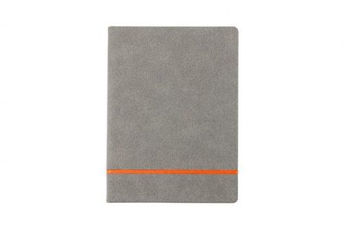 Pomarańczowy pasek na zamszowym notesie