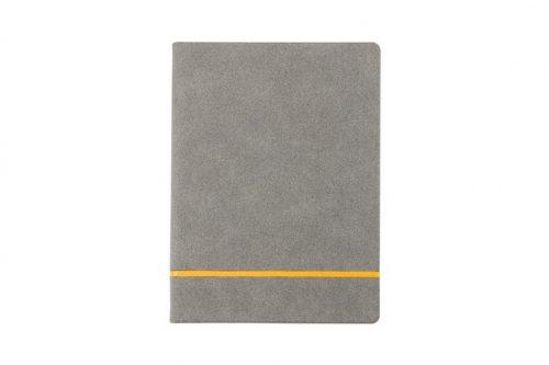 Zamszowy notes z żółtym paskiem