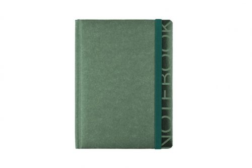 Zielony notes z napisem NOTEBOOK i gumką