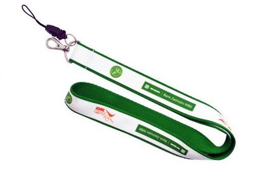 Smycze z nadrukiem - zielono-biała 20x25 mm
