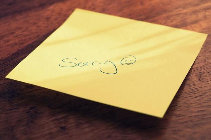 kartka z przeprosinami